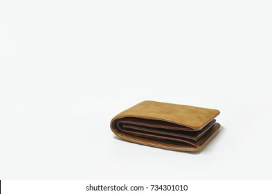 brown wallet isolated on white. business financial and saving concept.