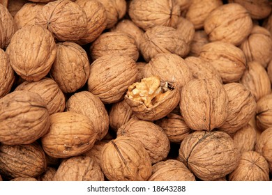 Brown walnuts background