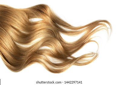 Brown wavy hair isolated on white background