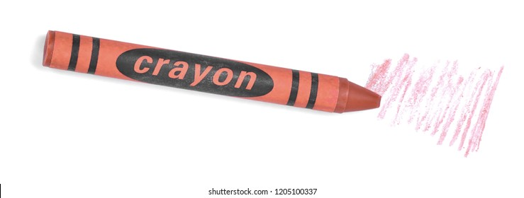 Brown wax crayon and drawing isolated on a white background