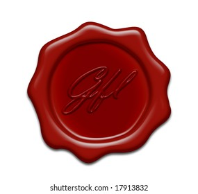 brown wax seal on white background