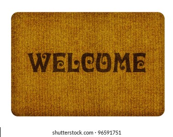 Brown welcome carpet, welcome doormat carpet isolated on white.