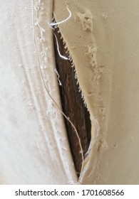 brown and white backdrop tear fabric closeup