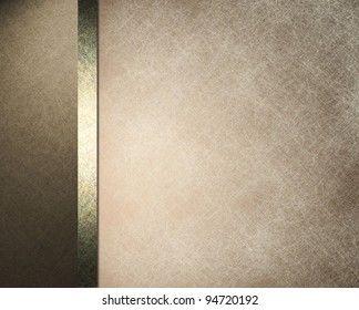 brown and white parchment background paper with white overlay and formal design layout with elegant dark brown frame with gold ribbon and vintage grunge texture and copy space
