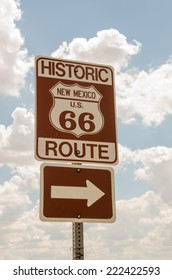 Brown and white sign for historic Route 66 in New Mexico