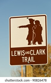 Brown and white sign for the Lewis and Clark Trail in Montana