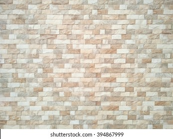 Brown and white Stone ceramic Brick wall beautiful color texture background for art interiors design in home, house, building, shop, store, art store, coffee shop