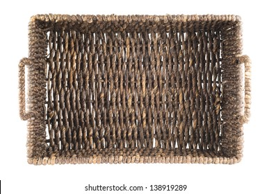 Brown wicker basket, box shaped, isolated over white background, top view