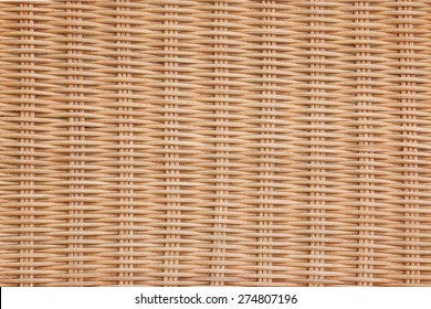 Brown Wicker Rattan Texture Horizontal Background Close-up