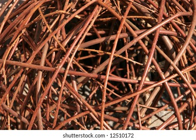 Brown wicker twigs background