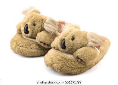 Brown winter slippers isolated on white background