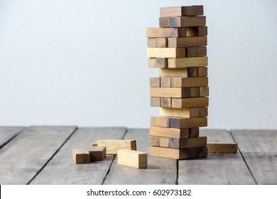 brown  wood building block tower