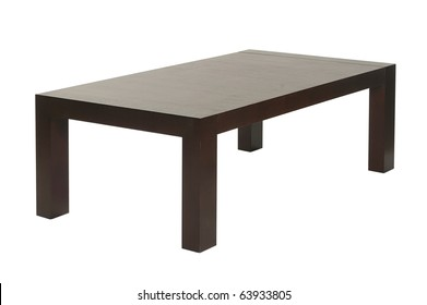 brown wood coffee table isolated on white