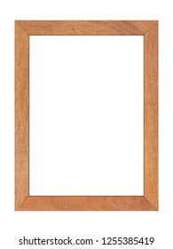Brown wood frame isolated on white background. Object with clipping path