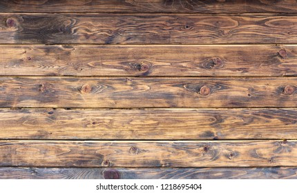 Brown wood plank wall texture background close up.