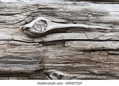 Brown Wooden Background Or Texture With Knothole, Copy Space