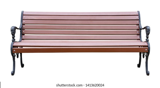 Brown wooden bench with a decorative ornate metal legs and armrests, isolated on a white background