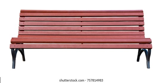 Brown wooden bench isolated on a white background
