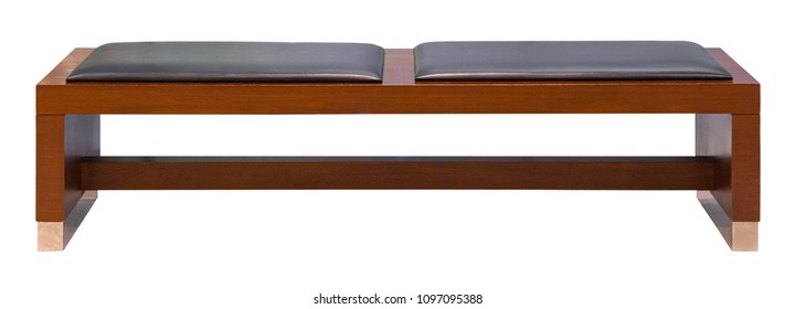 Brown wooden bench with two soft leather seats  isolated on a white background