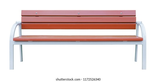 Brown wooden bench with white metal legs. Isolated