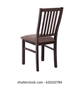 Brown Wooden Chair Isolated On White Background, Back View