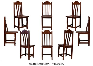 Brown wooden chair isolated on white background with clipping path.