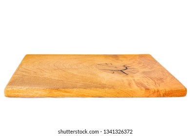 Brown wooden chopping board on white background