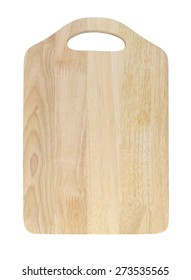 Brown wooden cutting board isolated on white