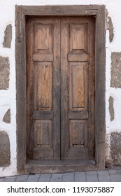 Brown wooden door in Las Palmas, Gran Canaria, Spain