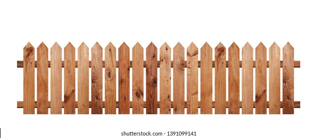 Brown wooden fence isolated on a white background that separates the objects. There are Clipping Paths for the designs and decoration