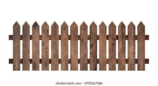 Brown wooden fence isolated on a white background that separates the objects. There are clipping paths for the designs and decoration - Shutterstock ID 1935567586