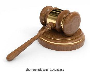 Brown wooden gavel isolated on white background.