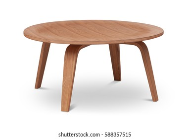 Brown wooden round coffee table, dinning table, magazines table. Modern designer, table isolated on white background. Series of furniture.