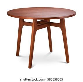 Runder brauner Holztisch. Moderner Designer, Esstisch einzeln auf weißem Hintergrund. Möbelserie.