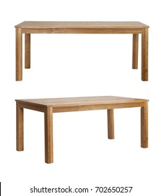 Brown Wooden rustic table desk on white background