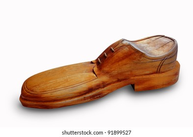 brown wooden shoes on a white background