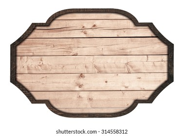 Brown wooden signboard, plate, planks and dark frame on white background
