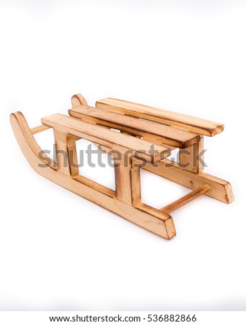 Brown Wooden Sledisolated On White Background Stock Photo Edit Now
