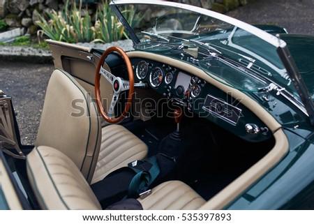 Brown Wooden Steering Wheel Vintage Stylish Stock Photo Edit Now