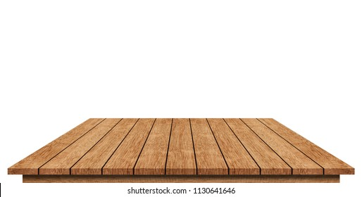 Brown wooden table top, isolated on white.