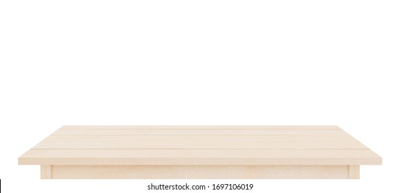Brown wooden table top isolated on white background. Used for display or montage your products.