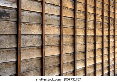 Brown wooden wall at Japanese traditional house style.