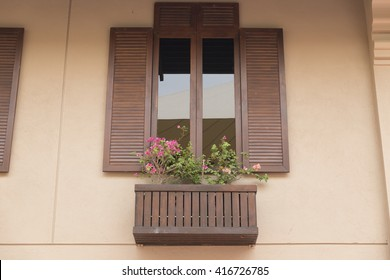 brown wooden window with tinted glass decorating with flowerpot