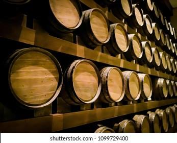 Brown wooden wine beer barrel stacked background