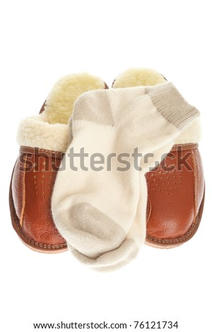 47f0c98d3a4 brown wool comfortable slippers and thick woollen socks - house slipper  isolated on white background