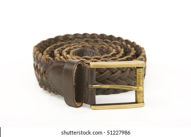 Brown woven leather belt.