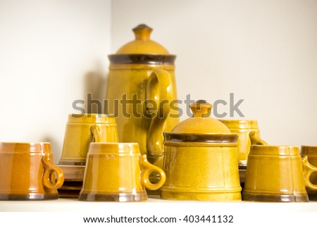 Brown Yellow Ceramic Vases Culture Romania Stock Photo Edit Now