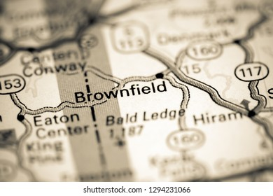 Brownfield. Maine. USA on a map