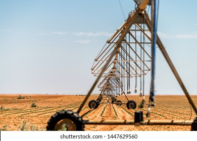 Brownfield, Texas rural countryside industrial field with water or fertilizer chemicals sprayer on dry land