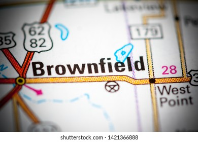 Brownfield. Texas. USA on a map